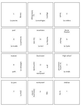 12 Square French Places Vocab Puzzle
