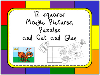 12 Squares Magic Pictures and Cut and Glue
