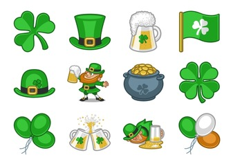 12 St Patrick's Day Icons Clip Art (4 Sizes)