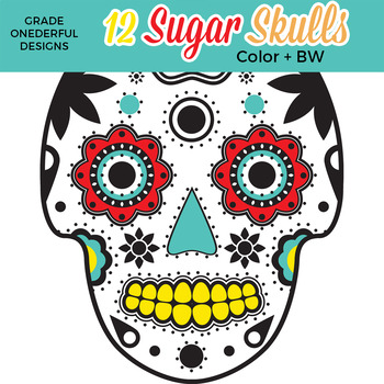 12 Sugar Skulls Clipart, Day of the Dead Clipart, Color and Black Line