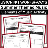 Summer Themed Music Listening Worksheets