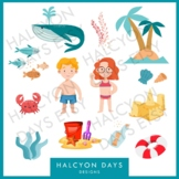 12 Summer beach boy and girl clipart graphics for classroom crafts / decorations