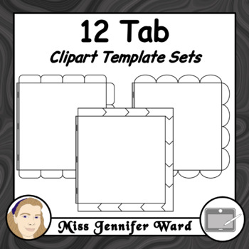 12 Tabs : Book Clipart Sets : Square Format