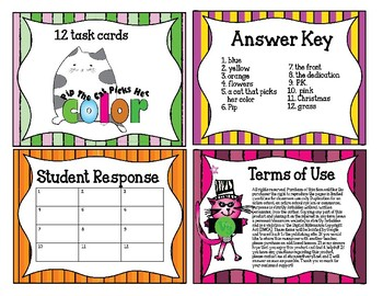 12 Task Cards for Pip the Cat Picks Her Color
