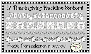12 Thanksgiving Page Dividers/Borders (blackline)
