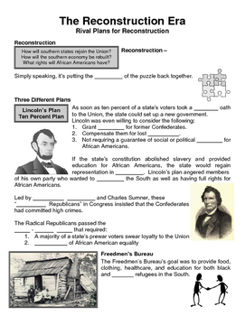 12 - The Reconstruction Era - Scaffold/Guided Notes (Blank and Filled-In)