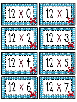 """12"" Times Table Flash Cards"