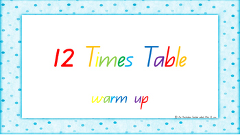 12 Times Table Warm Up ACARA C2C Common Core aligned PowerPoint