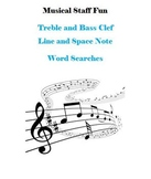 12 Treble Clef and Bass Clef Note Name Word Searches