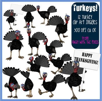 12 Turkey Clip Art for Thanksgiving, Christmas - Commercial Use OK Clipart