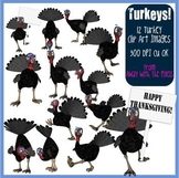 12 Turkey Clip Art for Thanksgiving, Christmas - Commercia
