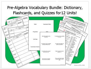 12 Units Pre-Algebra Vocabulary Bundle - Dictionary, Flashcards, Quizzes