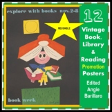 12 VINTAGE Library, Book and Reading Promotion Posters REU