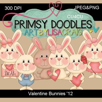 12-Valentine Bunnies 300 dpi Clipart