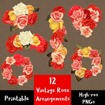 12 Vintage Rose Arrangements Clip Art | Antique Wreath, Garland | PNG, AI, EPS