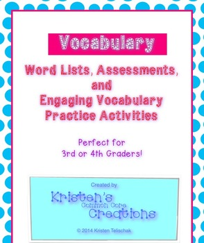 12 Vocabulary Lists Fill-in Blanks Assessments Activities 3rd 4th Grade 12 Weeks