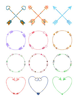 12 Watercolor Arrows Clipart, Arrow Watercolor Wreaths Clip Art, Boho, Tribal