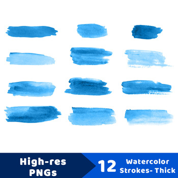 12 Blue Watercolor Brush Strokes Clipart- Wide, Paint Marks, Hand Painted