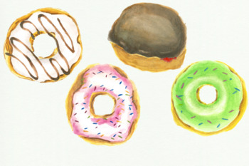 12 Watercolor Donuts Clipart, Pink Cute Donuts, Pastry Doughnuts Bakery
