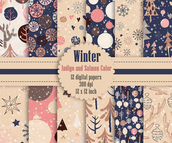 12 Winter Pattern Digital Papers in Indigo and Salmon Theme