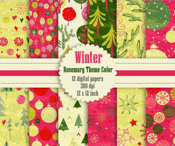 12 Winter Pattern Digital Papers in Rosemary Theme Color