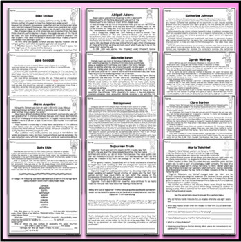 12 Women in History - Mini-Biography Worksheets Oprah Maya Angelou