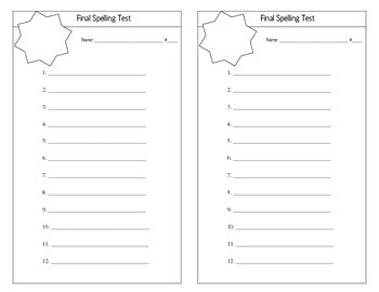12 Word Spelling Pre-Test, Final Test, and Dictation Page