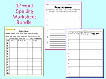 12-Word Spelling Worksheet Bundle