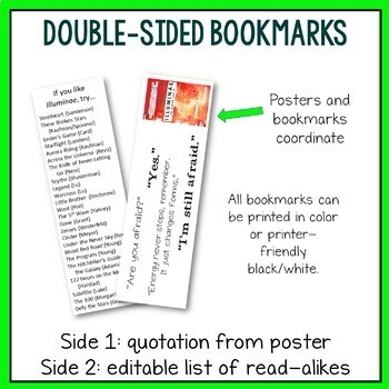 12 YA Novel Posters + Coordinating Bookmarks (Set 1)