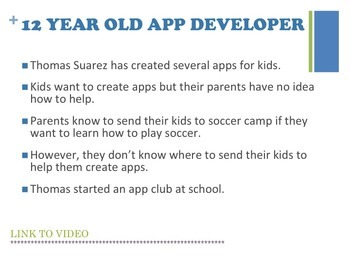 Computers Lesson 12 Year Old App Developer