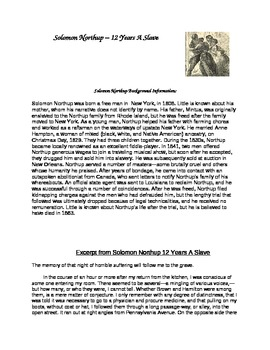 United States History: 12 Years A Slave: Solomon Northup Primary Source