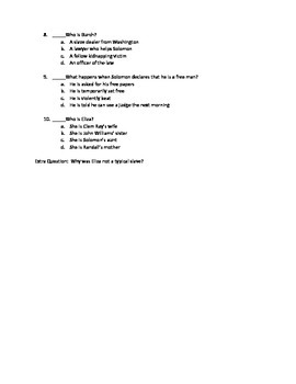 12 Years a Slave Chapters 1-3 Quiz