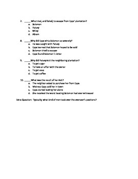 12 Years a Slave Chapters 15-18 Quiz