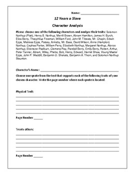 12 Years a Slave Character Analysis Activity - Solomon Northup