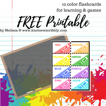 12 colors flash cards - for learning and games