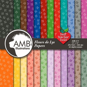 Floral Digital Papers, Fleur de Lys Digital Papers and Backgrounds, AMB-419