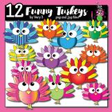 12 funny turkeys - turkey clip art for teachers