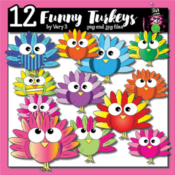 12 funny turkeys - turkey clip art for teachers