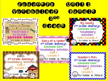 Journeys 2nd Grade Unit 1 Vocabulary Only Bundle