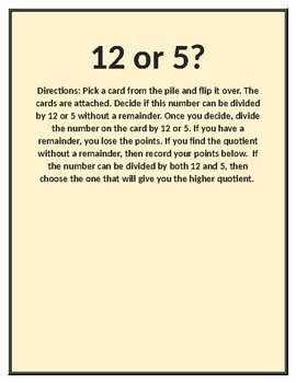 12 or 5? Division Game: Divisibility of 12 or 5