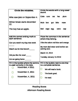 12 page reading boxes (part 2) ELA common core