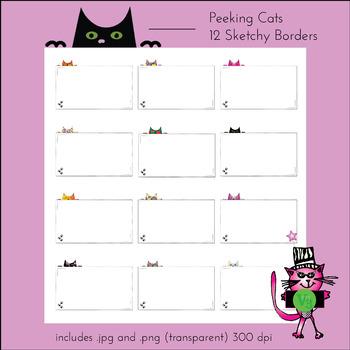 12 peeking kitty cat borders - letter sized