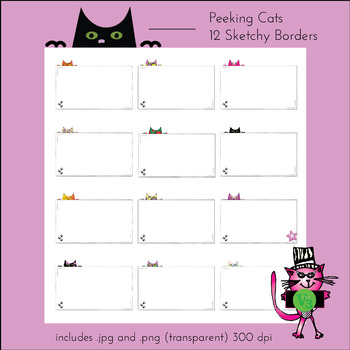 12 peeking kitty cat borders - letter sized