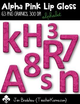 Alpha Pink Lip Gloss Clip Art ~ Alphabet & Numbers