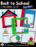 School Borders Clip Art, School Supplies