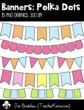 Banners: Polka Dots Clip Art ~ Swag ~ Bunting ~ CU OK
