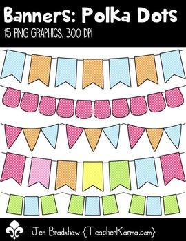 Banners: Polka Dots Clip Art ~ Swag ~ Bunting ~ CU OK