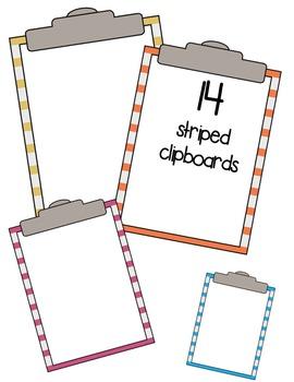Clipboards ** Polka Dots & Stripes ** Clip Art ~ Commercial OK