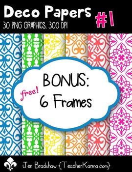 Neon Digital Papes - Deco Style with FREE BONUS Frames