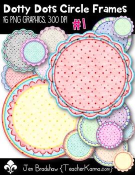 Dotty Dots Circle Frames #1 Clip Art ~ CU OK ~ Borders